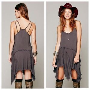 Free People charcoal distressed high low dress